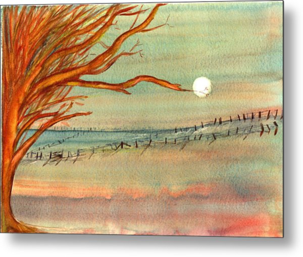 Moonlit Farmland Metal Print