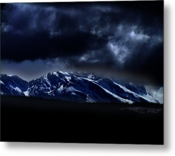 Moonlit Mountains Metal Print
