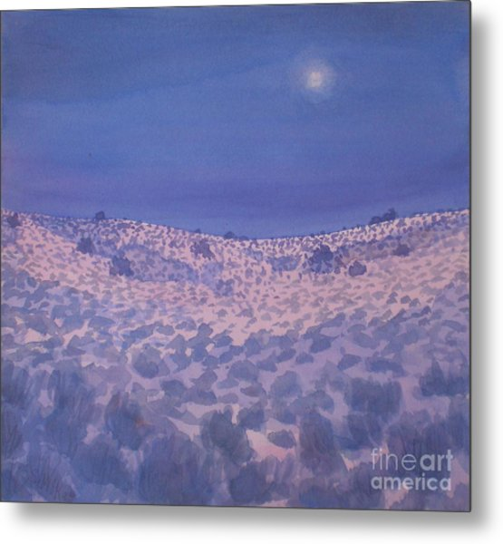 Moonlit Winter Desert Metal Print