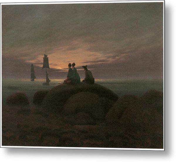 Moonrise At The Sea Metal Print by Caspar David Friedrich