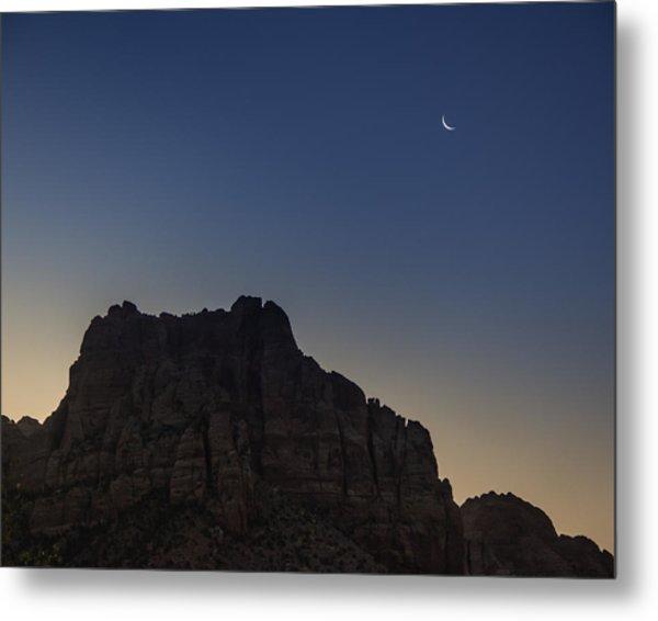 Moonrise Near Zion Metal Print