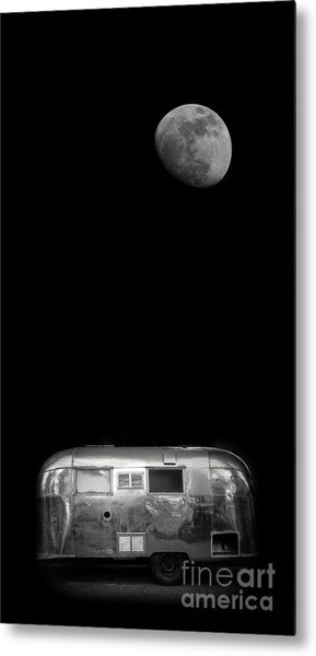 Moonrise Over Airstream Metal Print