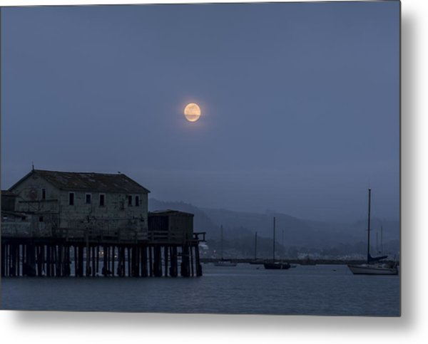 Moonrise Over The Harbor Metal Print