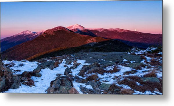 Metal Print featuring the photograph Moonrise Over The Presidential Range by Jeff Sinon