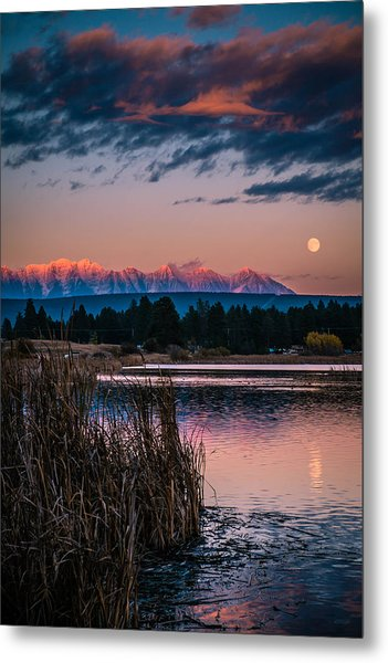 Moonrise Rocky Moutains Metal Print