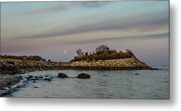 Moonset Over The Nob Metal Print