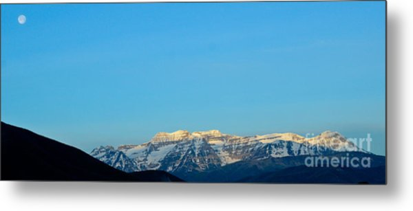 Moonset Over Timpanogos Metal Print