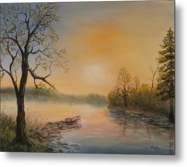 Moored At Sunset Metal Print