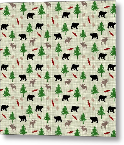 Moose And Bear Pattern Metal Print