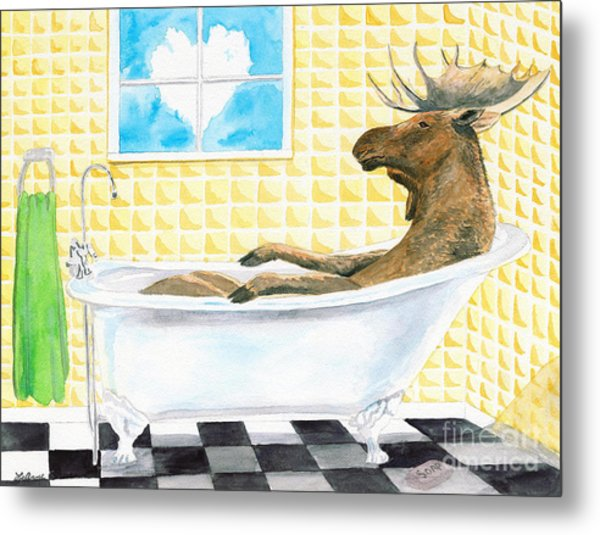 Moose Bath, Moose Painting, Moose Print, Bath Painting, Bath Print, Cottage Art Metal Print