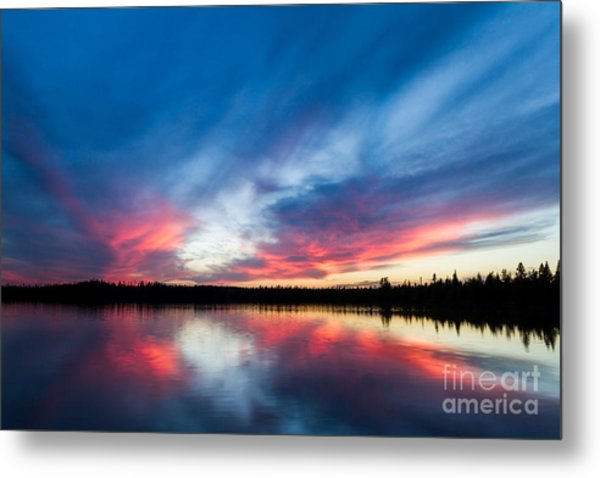 Moose Lake Sunset Metal Print
