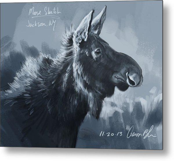 Moose Sketch Metal Print