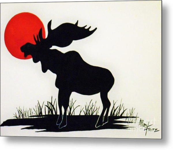 Moose Stands Tall Metal Print
