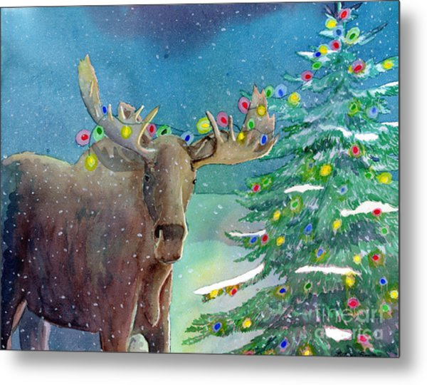 Moosey Christmas Metal Print