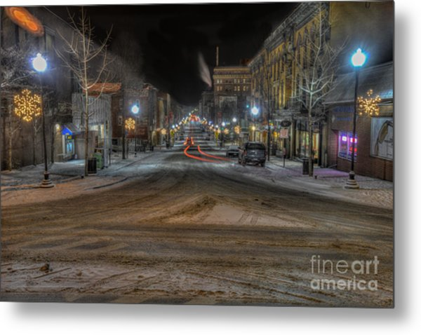 Morgantown High Street On Cold Snowy Night  Metal Print