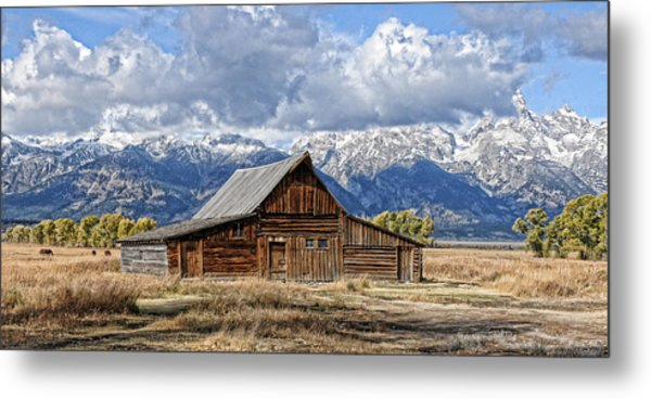 Mormon Barn With Horses Metal Print