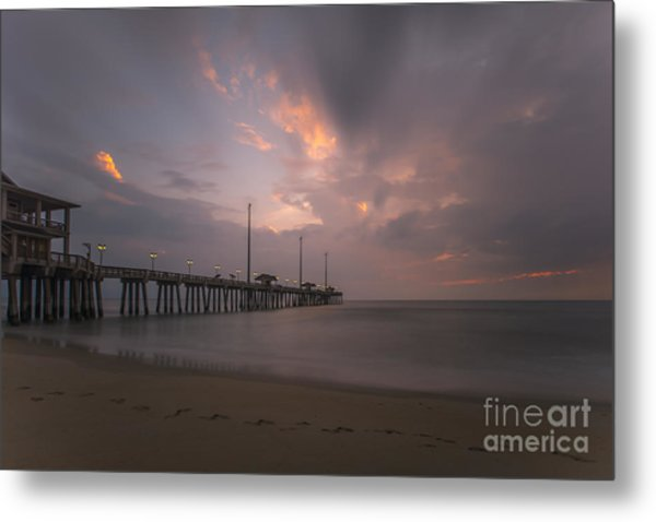 Morning At Jennette Pier Metal Print