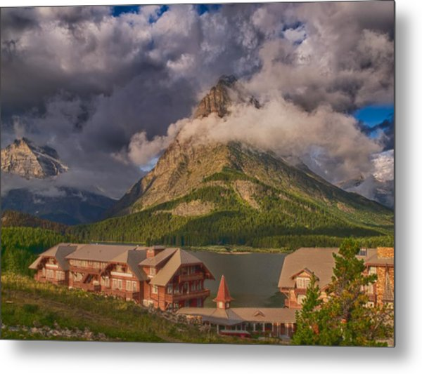 Morning At Many Glacier Hotel Metal Print