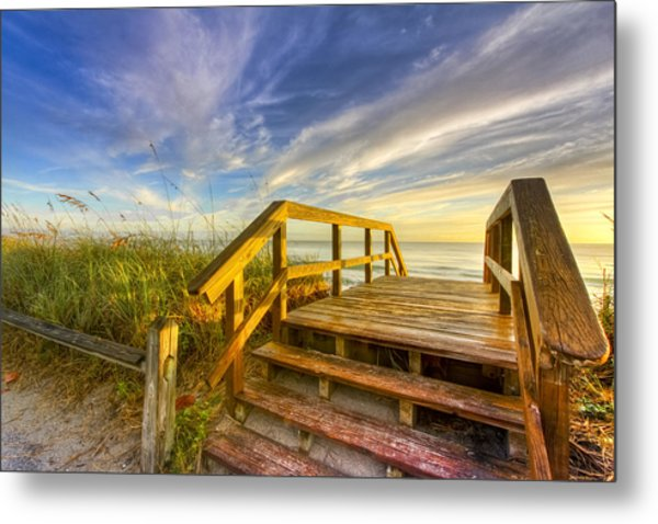 Morning Beach Walk Metal Print