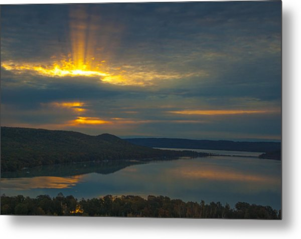 Morning Beams Over Glen Lake Metal Print