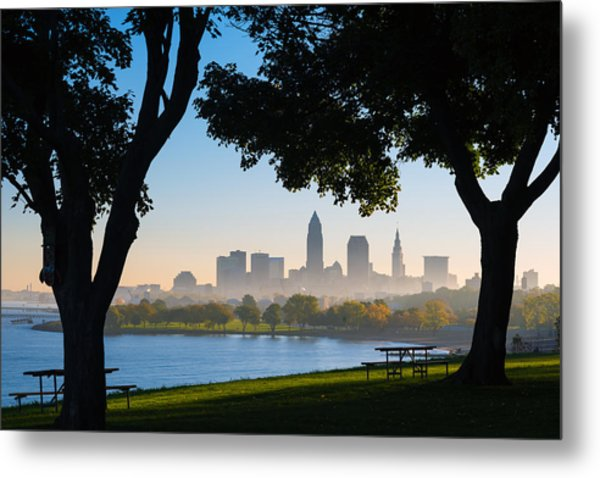 Cleveland Morning Fog Metal Print