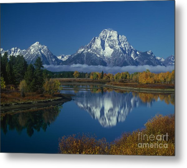 Morning Cloud Layer Oxbow Bend In Fall Grand Tetons National Park Wyoming Metal Print