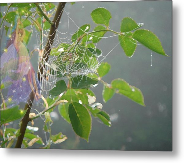 Morning Dew Flower Fairy Metal Print