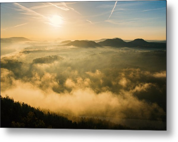 Morning Fog In The Saxon Switzerland Metal Print