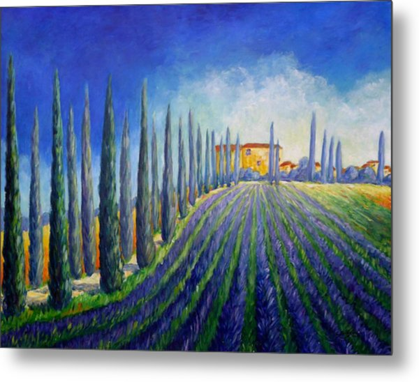Metal Print featuring the painting Lavender Field by Cristina Stefan