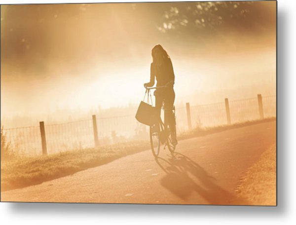 Morning Journey In The Glowing Mist Metal Print by Jenny Rainbow