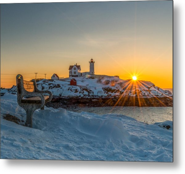 Morning Light At Nubble Lighthouse Metal Print