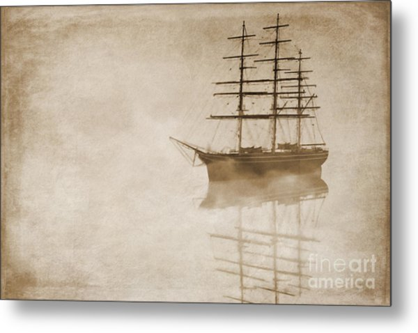 Morning Mist In Sepia Metal Print