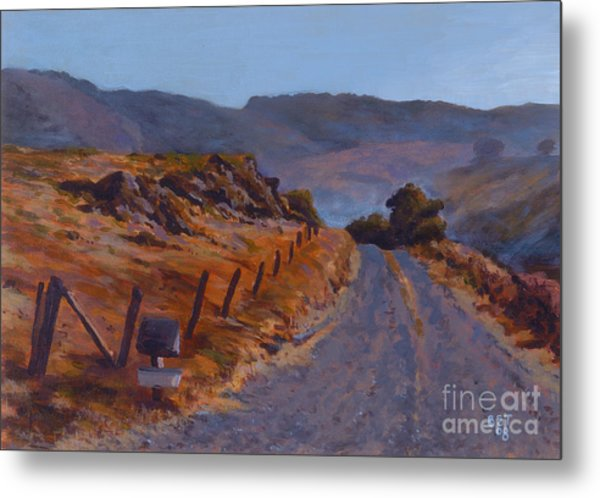 Morning Mist Off A Country Road Metal Print by Betsee  Talavera