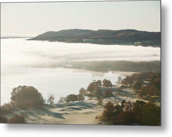 Morning Mist Over Lake Windermere Metal Print