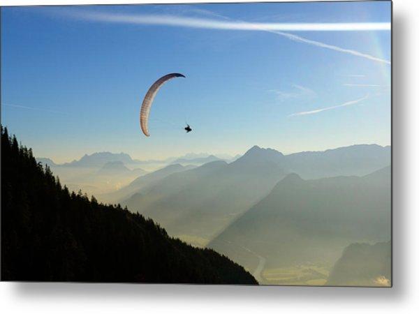 Morning Paragliding Flight Metal Print by Mario Eder