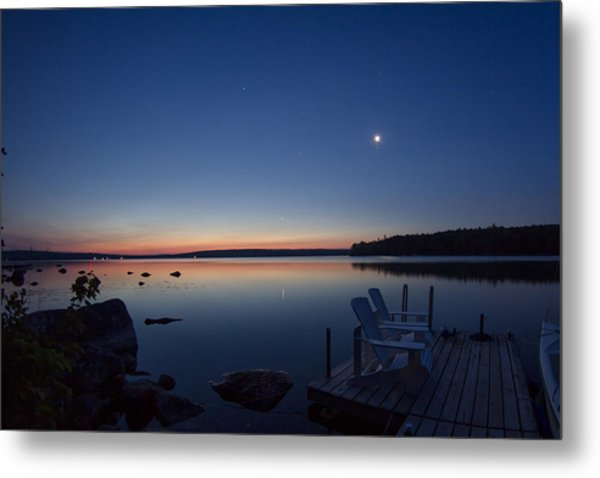 Morning Reflection On Branch Lake In Maine Metal Print