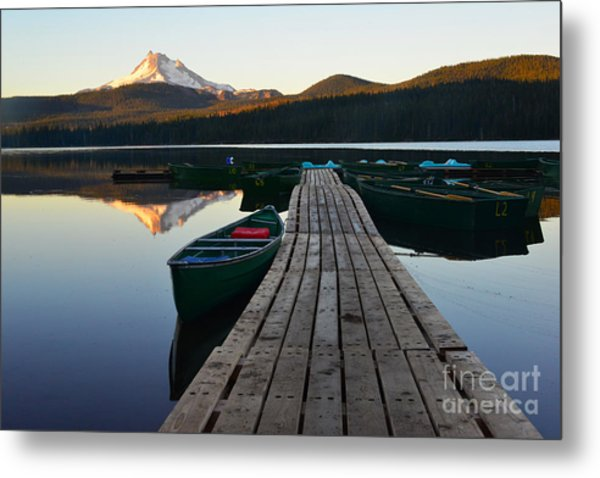 Morning Reflections With Mount Ranier Metal Print