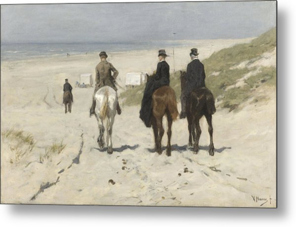 Morning Ride Along The Beach Metal Print