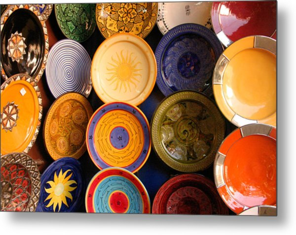 Moroccan Pottery On Display For Sale Metal Print by PIXELS  XPOSED Ralph A Ledergerber Photography