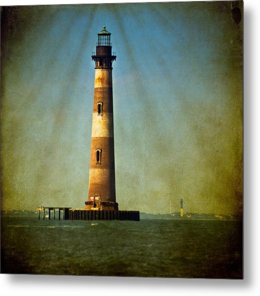 Morris Island Light Color Vintage Metal Print