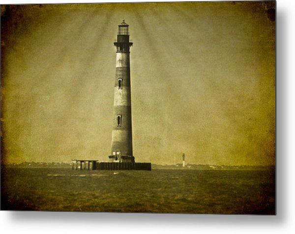 Morris Island Light Vintage Bw Uncropped Metal Print
