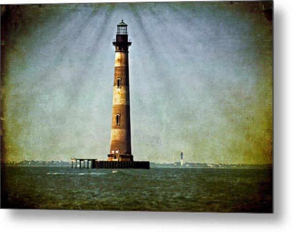 Morris Island Light Vintage Color Uncropped Metal Print