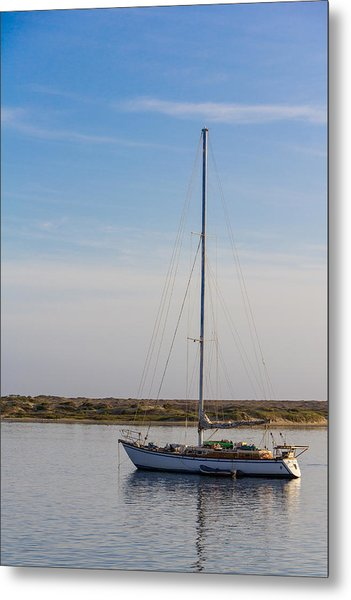 Sailboat At Anchor In Morro Bay Metal Print