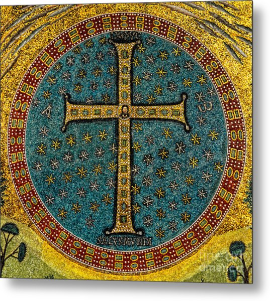 Mosaic Cross Ravenna I Metal Print