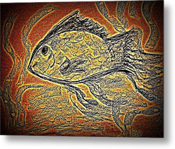 Mosaic Goldfish In Charcoal Metal Print