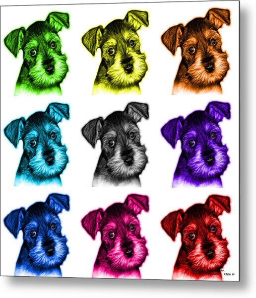 Mosaic Salt And Pepper Schnauzer Puppy 7206 F - Wb Metal Print