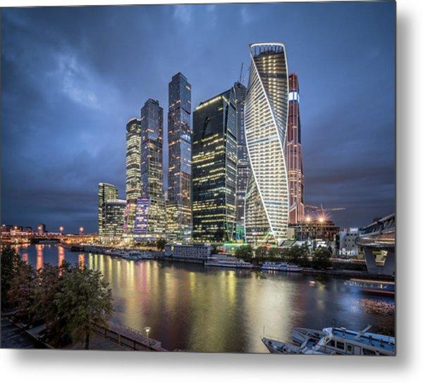 Moscow Skyline At Night Metal Print by Yongyuan Dai