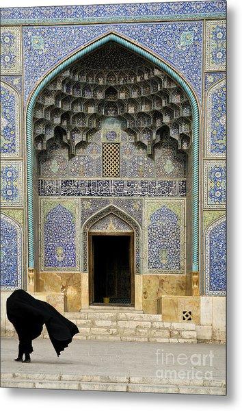 Mosque Door In Isfahan Esfahan Iran Metal Print