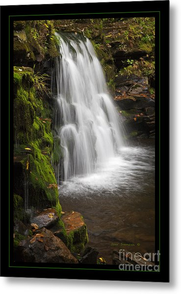 Mossy Wilderness Waterfall Cascade Metal Print