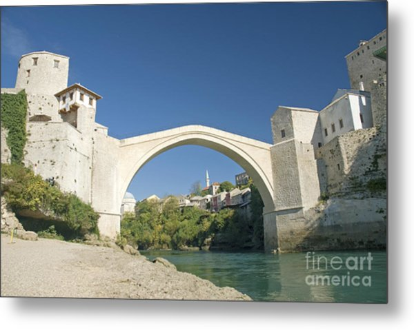 Mostar Bridge In Bosnia Metal Print